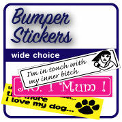 'Bumper Stickers' from the web at 'http://stickers.signprint.co.uk/images/BUMPER1.jpg'