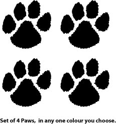 'Set of four paw prints (a)' from the web at 'http://stickers.signprint.co.uk/images/stickers/4paws.jpg'